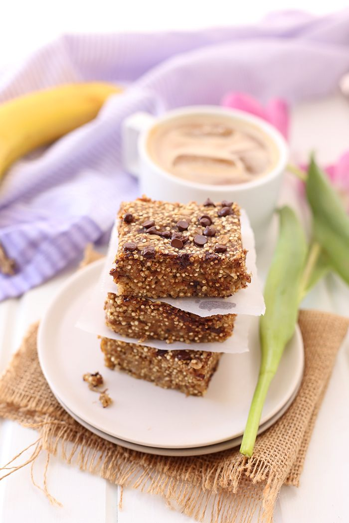 Get your quinoa first thing in the morning with these Banana Quinoa Breakfast Bars. An easy, make-ahead breakfast that is vegan, and refined-sugar-free.