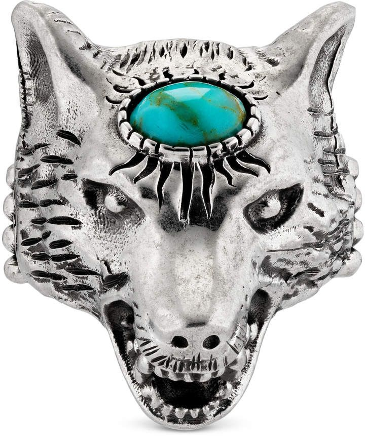 3a8846ebe Gucci Anger Forest wolf head ring in silver | Shorts | Gucci, Silver ...