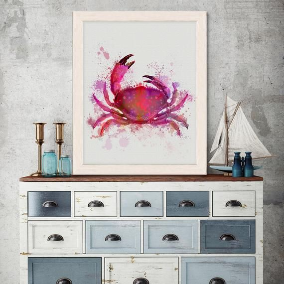 Crab Print Crab 1 Pink Crab Wall Art Nautical Nursery Nautical