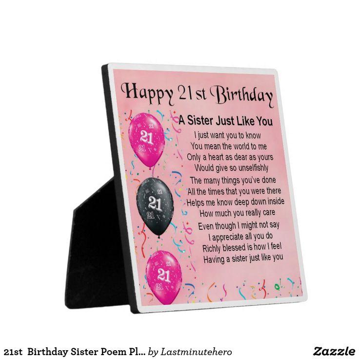21st Birthday Sister Poem Plaque Zazzle.co.uk in 2020