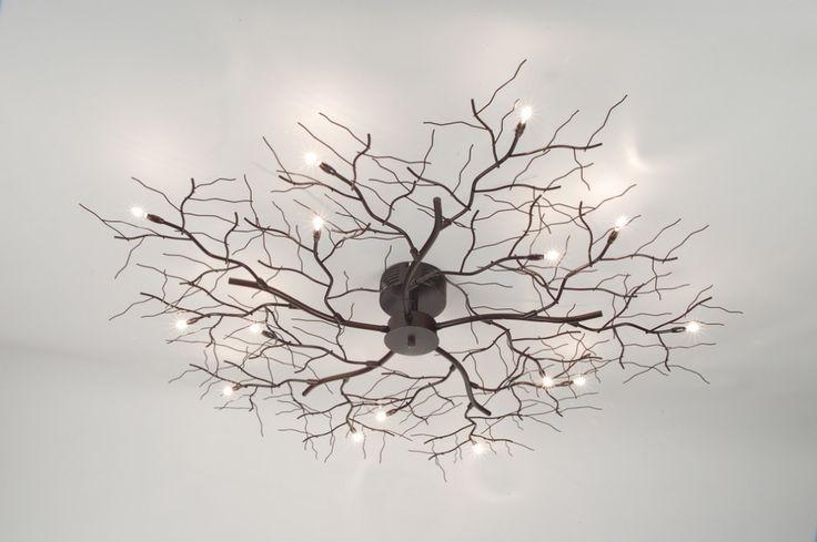 lampen inclusief 10 x 10 watt 12 volt Plafondlamp takkenbos bruin/brons plafondlamp