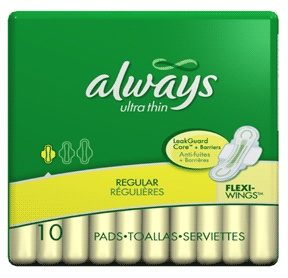 Always thin ultra maxi pads regular with wings - 10 pads / pack, 12 packs