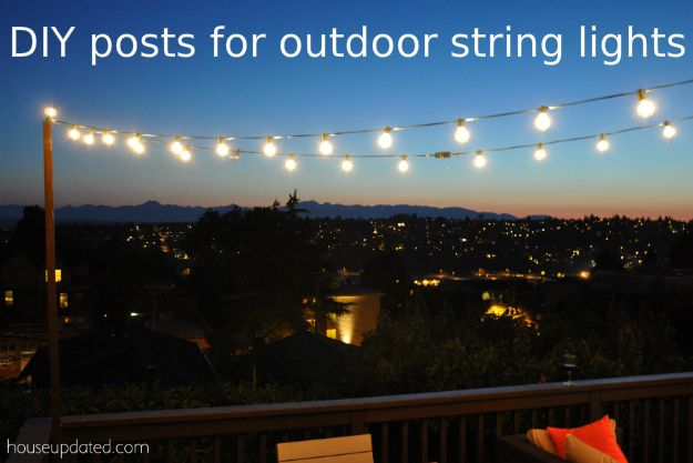 Diy Outside String Lights : DIY poles for outdoor globe string lights on the deck That DIY Party Highlights Pinterest ...