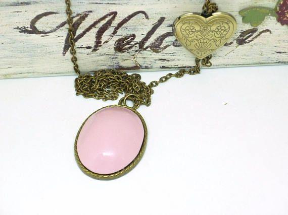 Collar corazón Collar rosa Collar boho chic Collar bohemio