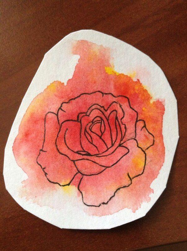 Watercolor, black pen Red rose