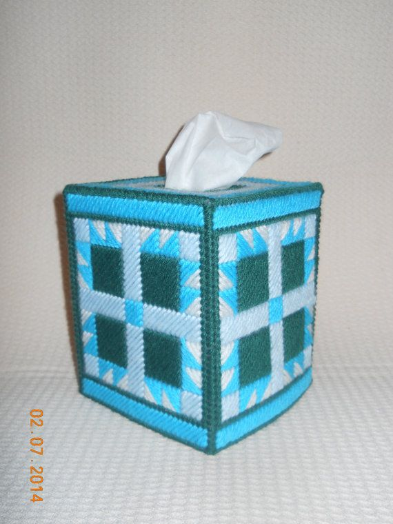 Aqua Quilt Block Tissue box cover in Plastic by SpyderCrafts, $10.00