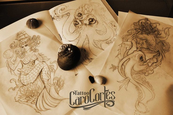 Caro cortes Colombian tattoo artist. http://carocortes.tumblr.com/ http://www.carocortes.com/ #sketch #draw #sea #female #artist