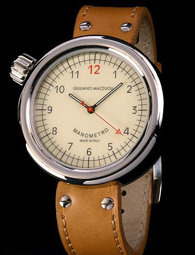 The Manometro Brushed White Dial Right Crown watch by Giuliano Mazzuoli on vibio.com
