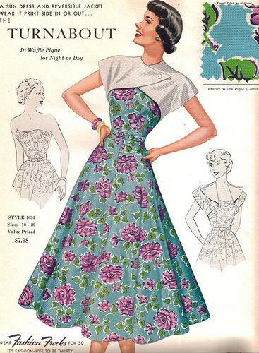 "Fashion Frocks ~ ""The Turnabout,"" ca. 1950."