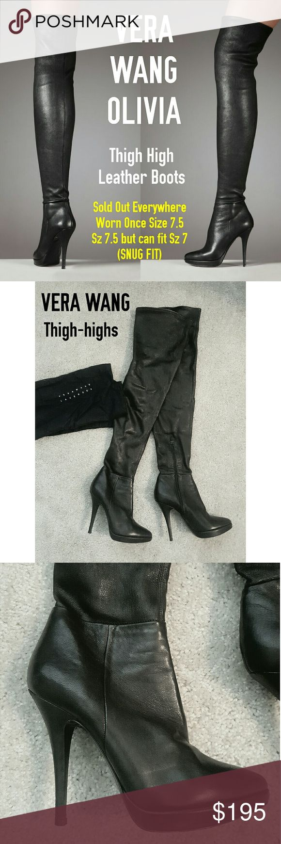 Vera wang lavender Olivia Stretch Thigh-high Boots GORGEOUS Vera Wang thigh-highs that stretch comfortably. The leather is soft but a crushed leather that is NOT super shiny. Very elegant and looks GREAT under tight skirts! Looks like panyhose boots. I wore them once and everyone stopped me BUT wrong size! I am a 7.5-8 and these are a 7.5 BUT fits like a 7-7.5.   Sexy yet classy which are hard to find. I am STILL searching for one in my size :'(  No marks. Kept in the Vera Wang cloth bag it…
