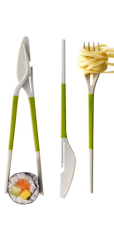 Knife + fork = chopsticks! Clever convertible cutlery #product_design