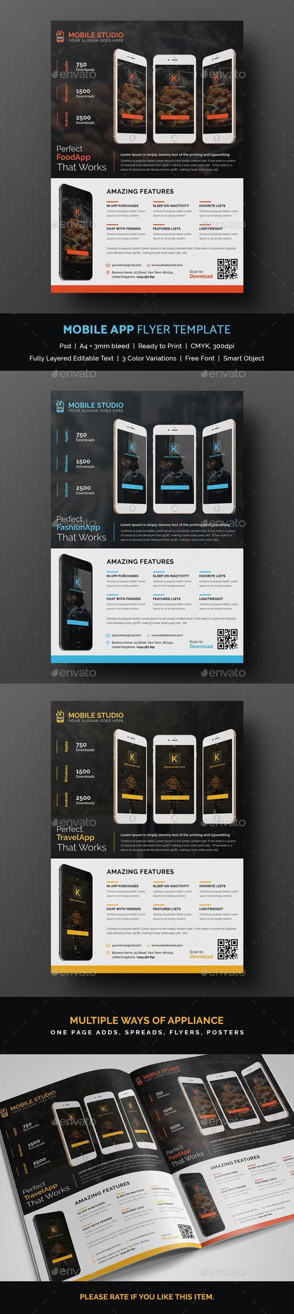 #Mobile #App #Flyer Template - Commerce Flyers Download here: https://graphicriver.net/item/mobile-app-flyer-template/19516684?ref=alena994