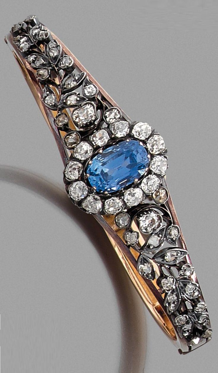 An antique diamond, sapphire, silver and 18K gold bracelet, 19th century. #antique #bracelet