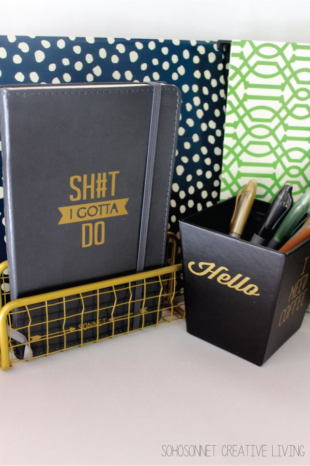 Funny Office Supplies using silhouette cameo - SohoSonnet Creative Living
