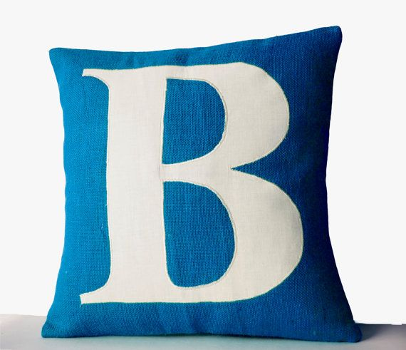 Blue Pillows Personalized Monogram throw pillow by AmoreBeaute
