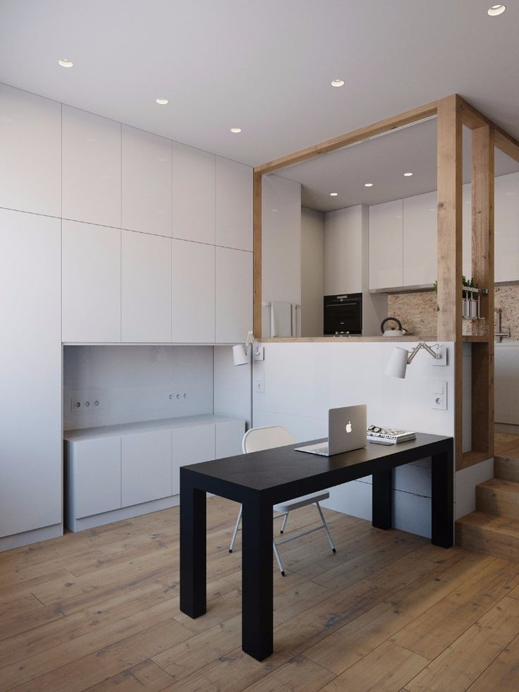 This minimalistic 25 m2 apartment designed by Anton Medvedev is very space efficient Every piece