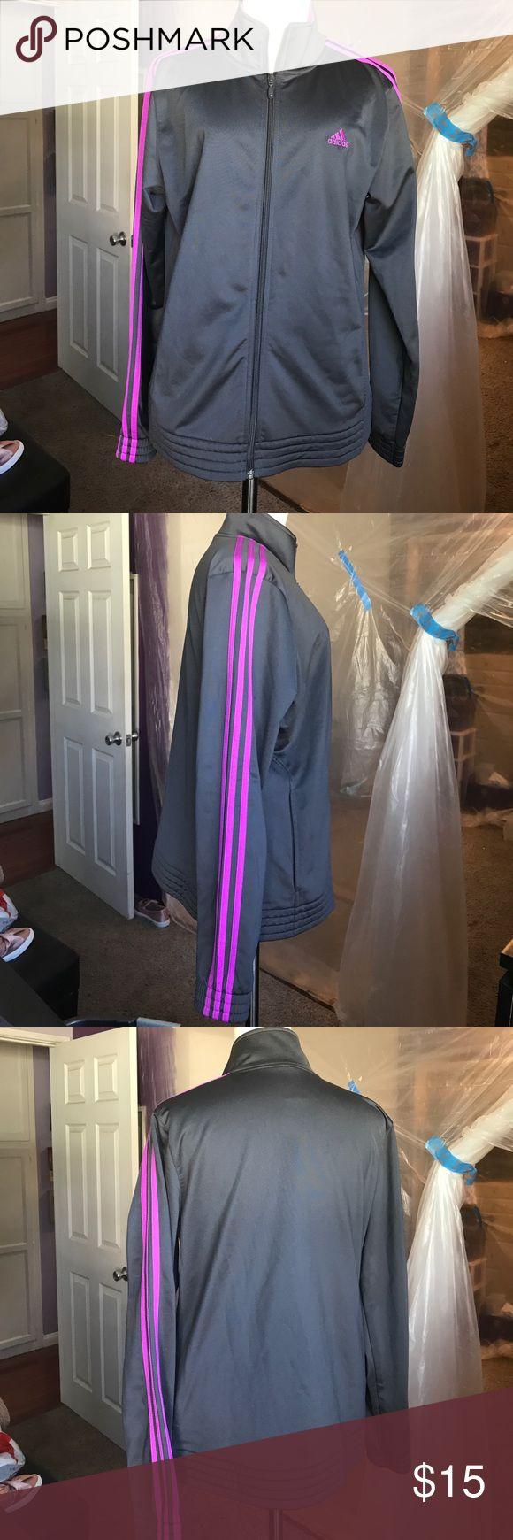 Adidas dark grey/ purple zip up jacket Adidas dark grey/ purple zip up jacket. Size L. adidas Jackets & Coats