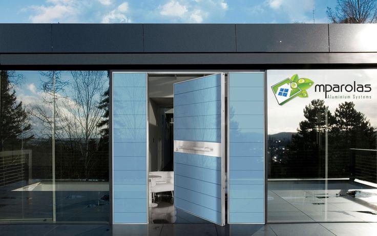 Αξονική θωρακισμένη πόρτα ασφαλείας με πλαίνα σταθερά και επένδυση από μπλέ security τζάμι και inox...