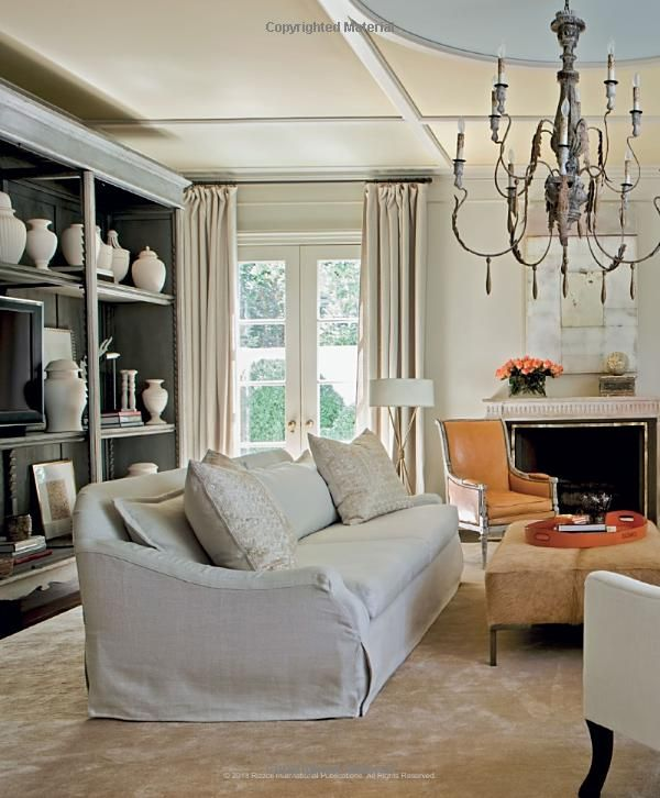 Suzanne kasler family rooms pinterest the chandelier circles and gold floor lamp for Suzanne kasler inspired interiors