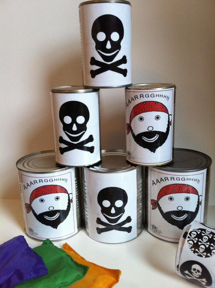 Knock Down Tin Can Pirate Game from Cheeky Monkey Party.
