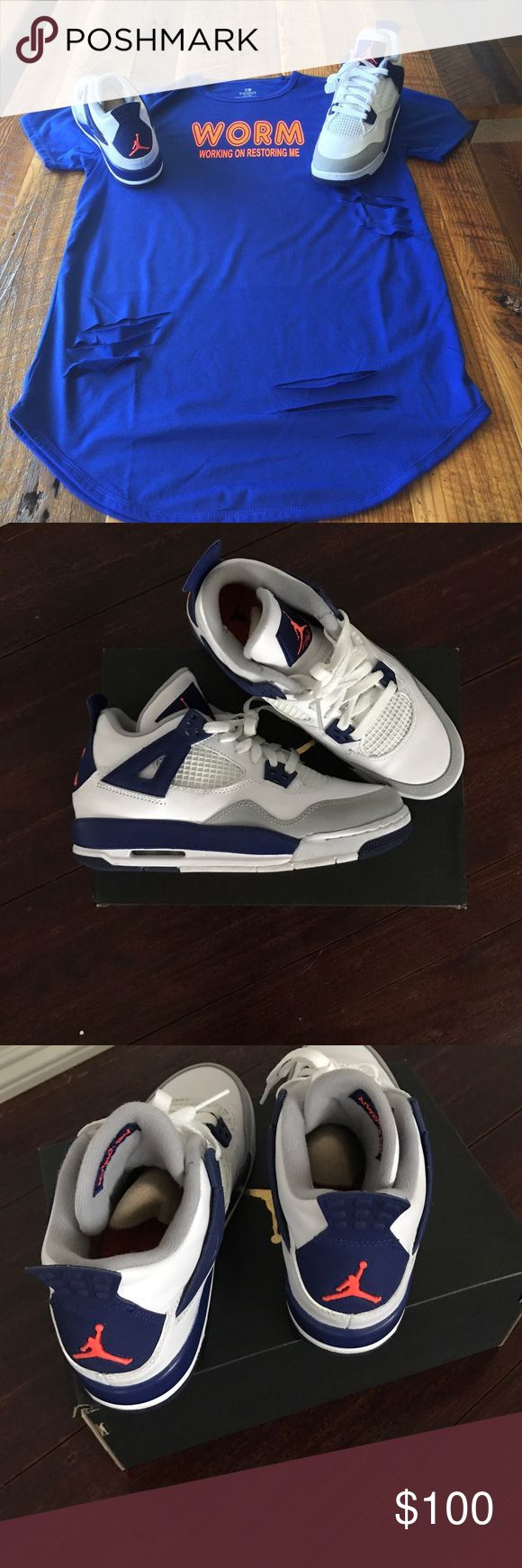 Air Jordan Retro 4 White, Hypr orange, Royal Blue and White Jordan Shoes Sneakers