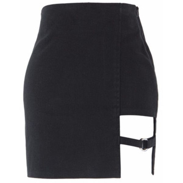 Cut-Out Strap Accent Mini Skirt (£30) ❤ liked on Polyvore featuring skirts, mini skirts, zipper mini skirt, mini skirt, high waisted mini skirt, mid thigh skirts and high-waisted skirt