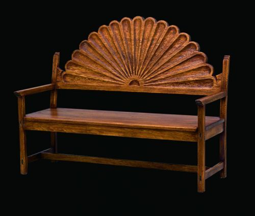 Santa Fe Style Painted Furniture | Sunburst Bench: Southwest Furniture, Santa  Fe Style: