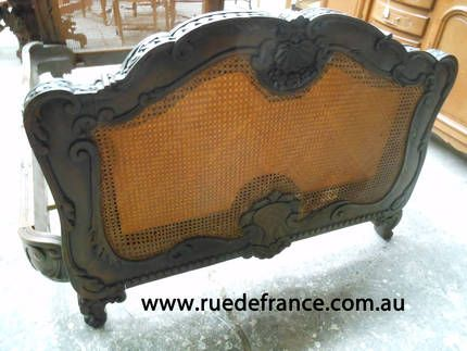 BIG ANTIQUE FRENCH HEAVILY CARVED BAROQUE WALNUT DOUBLE BED