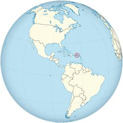 Location of  United States Virgin Islands  (circled in red)in the Caribbean  (light yellow)