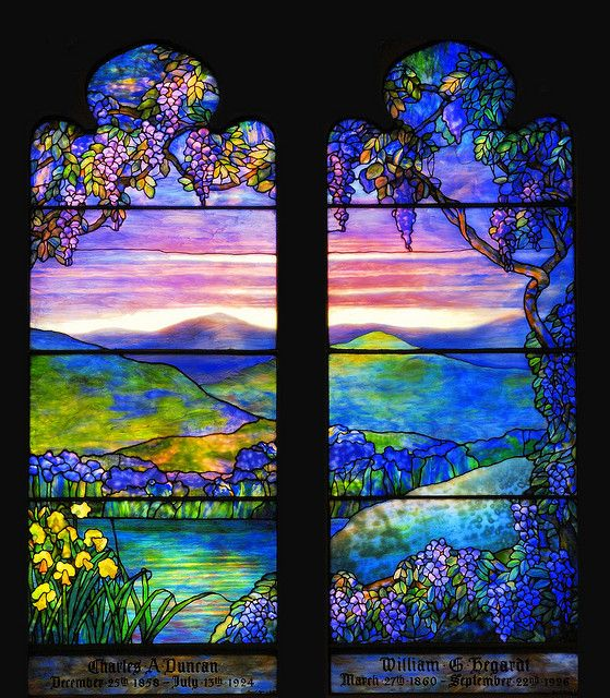 Louis Comfort Tiffany stained glass window, circa 1920