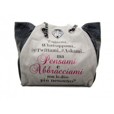 "LE #PANDORINE - Borsa NEW CLASSIC TWIST ""Taggami..."" in ecopelle - Grigio - Elsa-boutique.it <3"