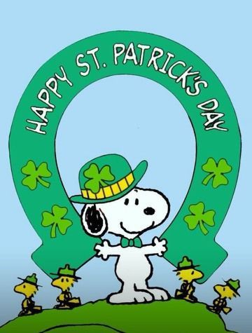 Snoopy Holding Green Horseshoe and Wearing a Green Hat With Woodstock and Friends Standing Nearby - Happy St. Patrick's Day