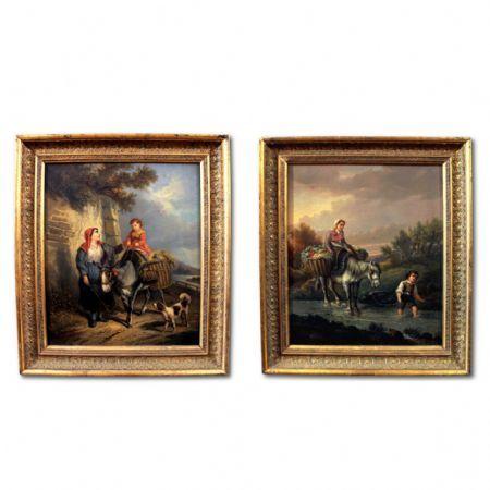 coppia di dipinti antichi Antiquariato su Anticoantico