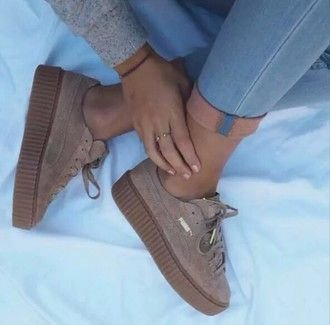 shoes puma sneakers brown brown shoes platform shoes style fashion trendy fall colors fall outfits dope cute pumas kicks nude tan platform sneakers nike suede velvet ash sand