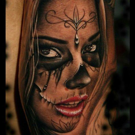 Gorgeous La Catrina tattoo by Szalai Tibor aka Tibi Tattooart.