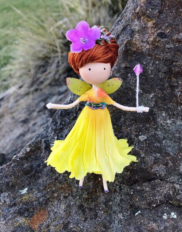 Excited to share the latest addition to my #etsy shop: Yellow Purple Flower Fairy Doll, Wire Bendy Fairy Doll, Spring Fairy Rag Doll, Fairy Gift Ideas, Nature Lover Gift, Miniature Fairy Doll