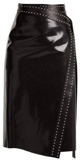 2d763c40e6 Alexander McQueen Python Effect Leather Wrap Skirt - Womens - Black ...