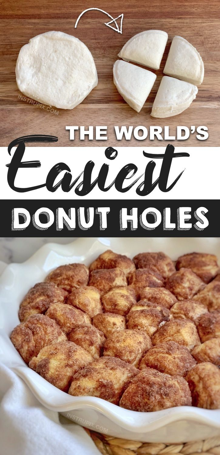 Easy Baked Donut Holes Made With Pillsbury Biscuits Recipe Quick Easy Desserts Easy Donuts Dessert Recipes Easy