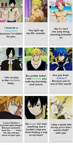 Haha ridiculous pick up lines #FairyTail . Aw snap! Rogue's pick up line is.....................WOW1