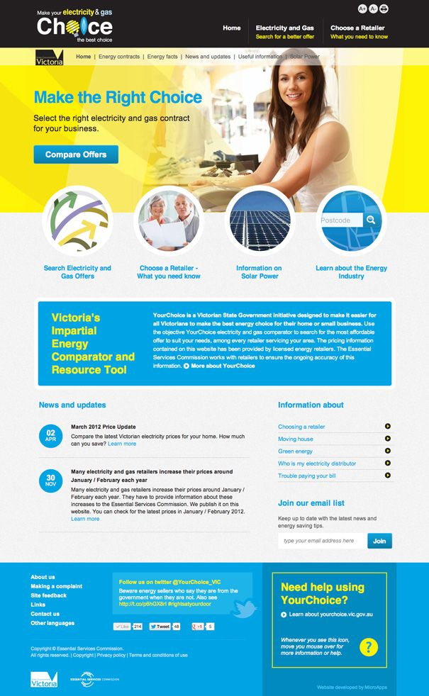 YourChoice custom website and Energy comparator application