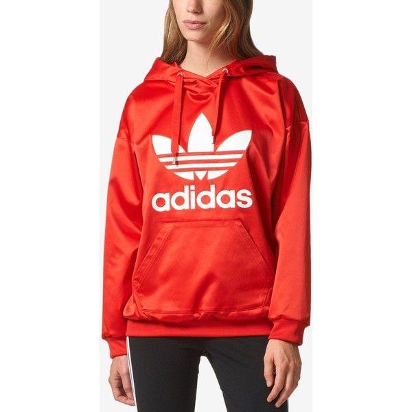 adidas Satin Trefoil Hoodie ($70) ❤ liked on Polyvore featuring tops, hoodies, vivid red s, trefoil hoodie, red hoodies, red satin top, red hoodie and sweatshirt hoodies