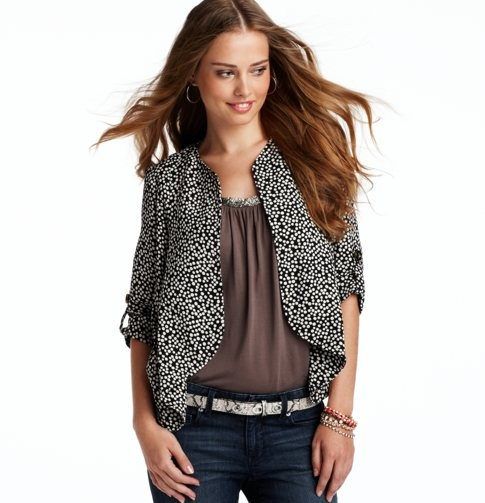 Dot Print Crepe Jacket