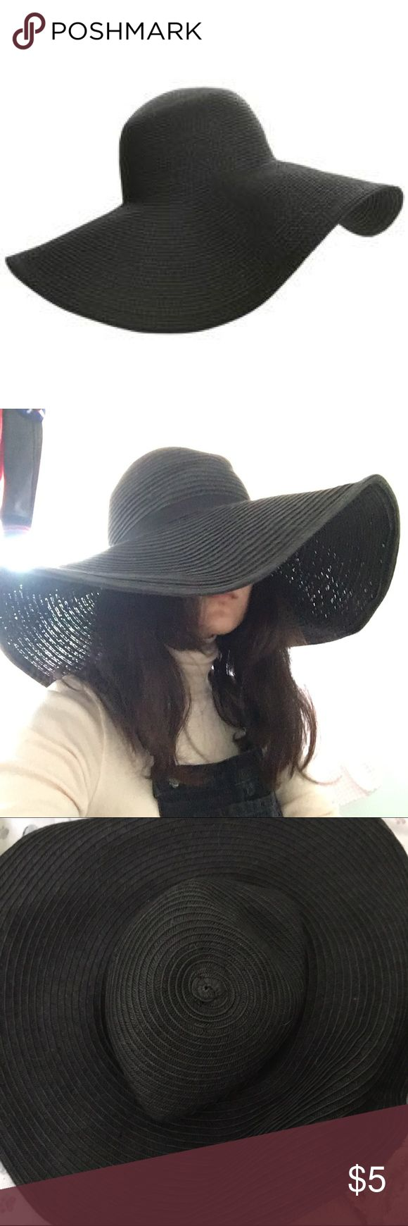 Very Big Black Floppy Hat from H&M Very big black floppy hat from H&M. Wrinkled at the top part of the hat, but can most likely be fixed with some work.  I don't really want the hat anymore, nice for monochrome beach outfits. Considered M/56 sized. H&M Accessories Hats
