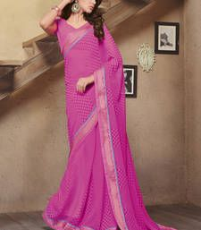 Buy Pink printed chiffon saree with blouse party-wear-saree online