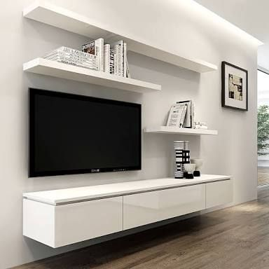 LIKE Wall Mounted TV Floating Entertainment Unit To Keep Things Hidden But Accessible And Shelves For Decorations