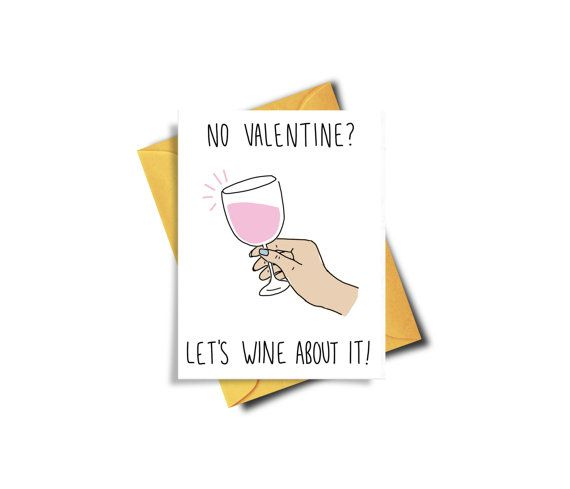 Wine Valentine Funny Valentine Card Fuck Valentines by BAECKANN