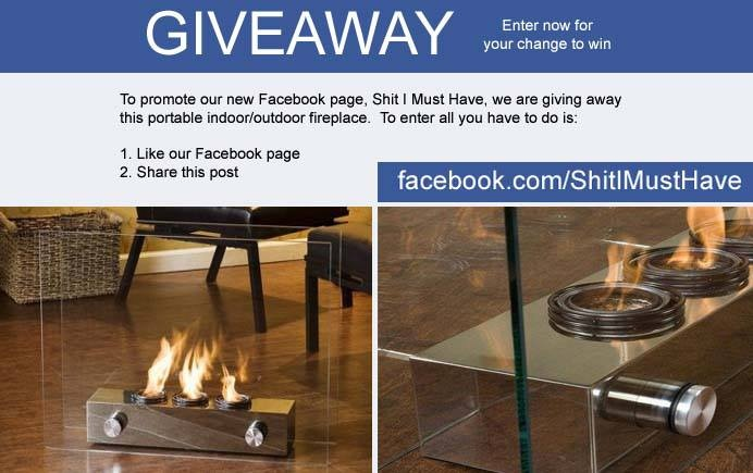 GIVEAWAY ~~ WIN  Win this mini indoor fireplace. Visit our facebook page to enter www.facebook.com/shitimusthave