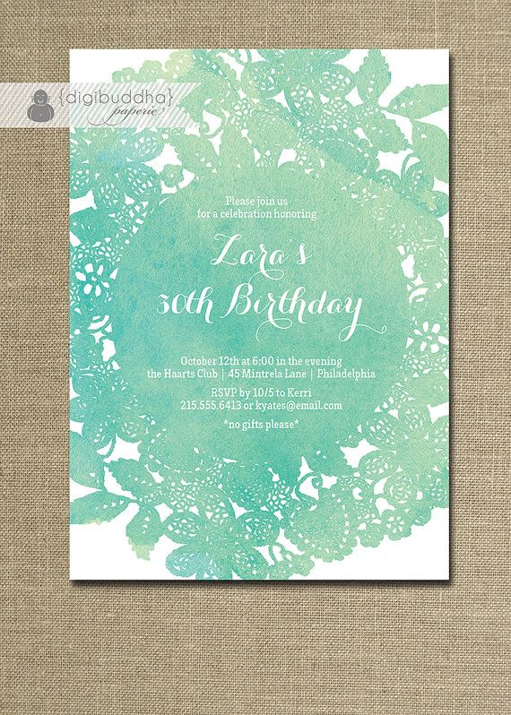 Lace Doily Watercolor Birthday Invitation Modern Blue Teal Turquoise Aqua Shabby Chic 40th 30th Printable Digital or Printed - Zara Style