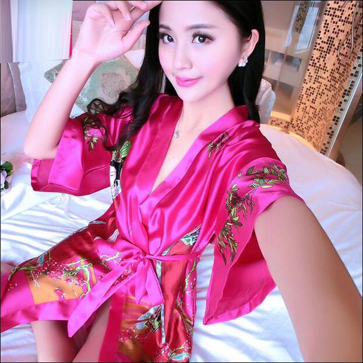 Silk Wedding Robes For Bridesmaids and Bride Dressing Gown Floral Bathrobe Kimono Satin Nightwear Female Bath Robe Sexy Peignoir #Affiliate