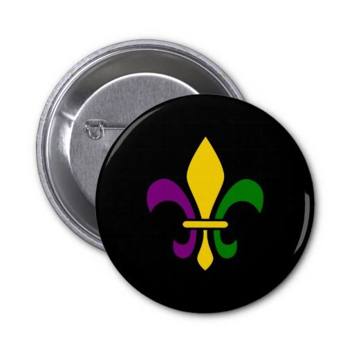 Mardi grass fleur-de-lys buttons